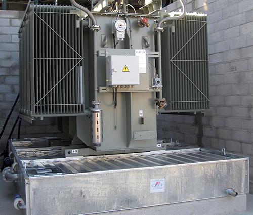transformateur installé un sur bac de rétention anti feu BAFX